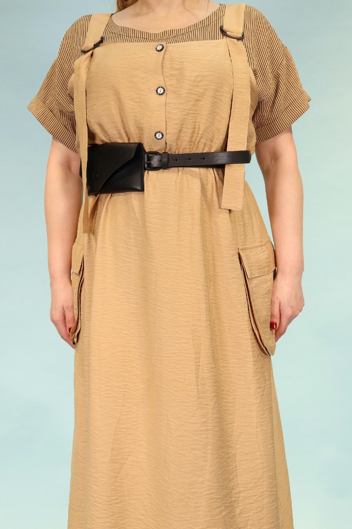Day Dresses Medium-Camel
