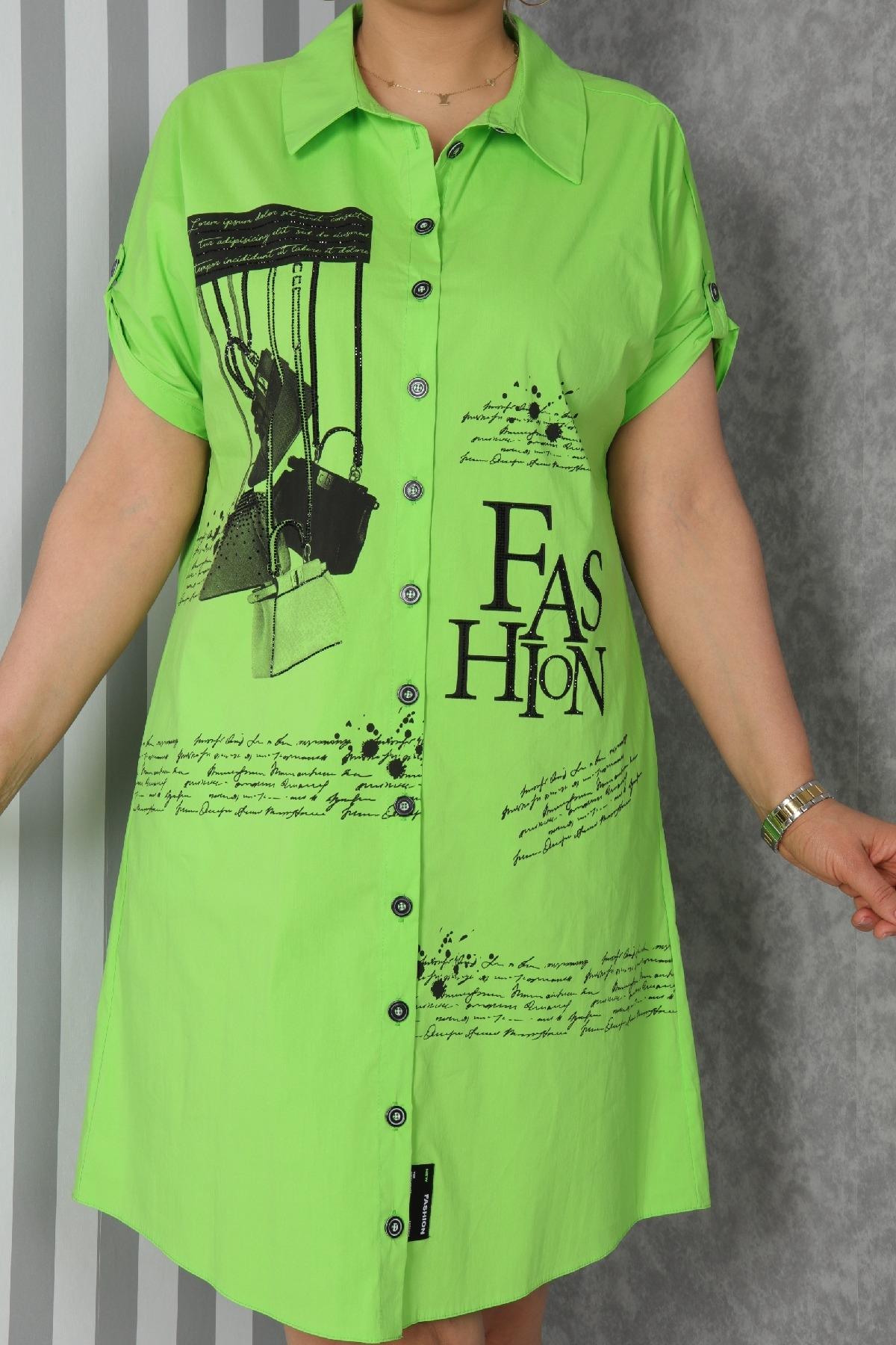 Casual Short Dresses-Neon Green