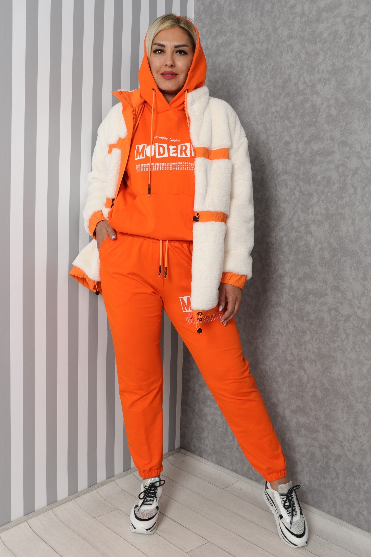 Women's 3 Piece Suits-Orange