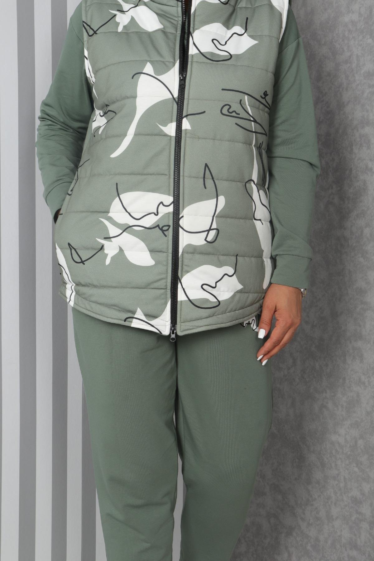 Women's 3 Piece Suits-Petrol Green